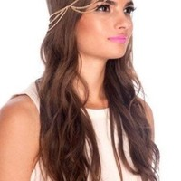 JY jewelry Fashion Style Women Gold Metal Gypsy Hipster Head Chain Jewelry Headband H17