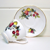 Vintage Teacup & Saucer Dutchess England Bone China Fruit Decorated