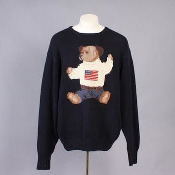 Vintage POLO SWEATER / Rare 1990s Men's Ralph Lauren Bear Flag Jumper XL