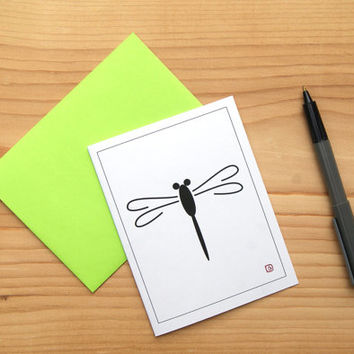 Dragonfly Art Card - Greeting Card - Invitation - Thank You Card - Mini Art - Graphic Dragonfly - FREE SHIPPING