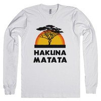 Hakuna Matata (Long Sleeve)-Unisex White T-Shirt