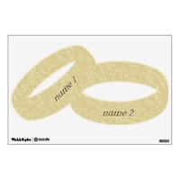 Gold Glitter Personalized Wedding Rings Wall Decal