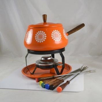 Orange Fondue Set White Retro Sunflower Motif - Mid Century Dining - Fondue Party