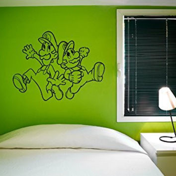 Mario and Luigi Silhouette Vinyl Wall Decal Sticker Graphic