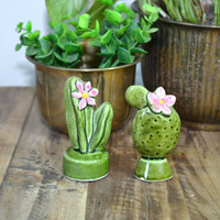 Vintage Cactus Cactus Salt & Pepper Shakers Cactus Figurines Green and Pink Cactus Cacti Southwestern Decor