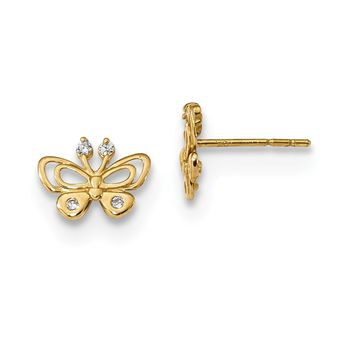 14K Yellow Gold Madi K Polished CZ Butterfly Post Earrings