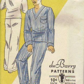 Vintage 1930s Sewing Pattern Du Barry Men's Pajamas Lounge Pants Pullover Sleep Shirt Unisex Chest Bust 34