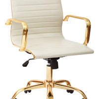 Office Star WorkSmart Thick Padded Cream Faux leaether Seat and Back with Built-in Lumbar Support and Gold Finish Base and Accents [FL3836G-U28]