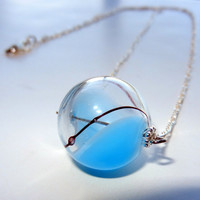 Blue, Clear and Brown  Round Hand Blown Glass Necklace, Sterling Silver