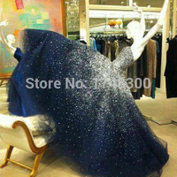Sparkling Strapless Floor Length Stars Beaded Navy Tulle Prom Dresses 2014 vestidos De Festa Longo Fashion Girl Party Dress