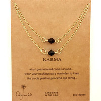 Dogeared Karma Rhombic Drop Gold Plated Short Layered Chain Necklace