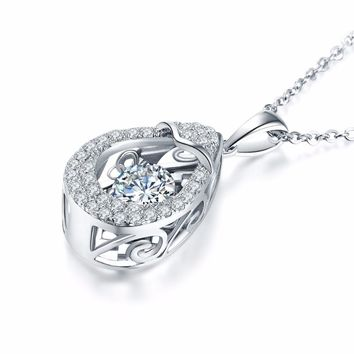Topaz Necklace Pendant For Women with Dancing Stone