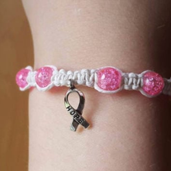 Hope Ribbon Charm Breast Cancer Awareness Hemp Bracelet Pink White Crackle Glass Beaded Hemp Jewelry
