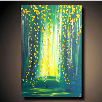 "Original Painting Abstract Modern Art Large Textured Decorative Wall Art 36"" x 24"" Weeping Willow"