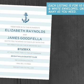 Formal Anchor Nautical Wedding Invitations | Invites | Invitation Cards