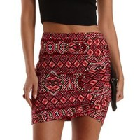 Multi Geometric Print Ruched Mini Skirt by Charlotte Russe