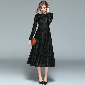 Women High Quality European Black Color Floral Lace Long Sleeve Full Party Dresses Winter Elegant Slim Maxi Dress