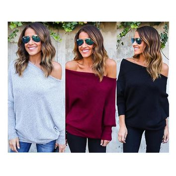 Spring Autumn Sexy Strapless Bat Sleeve Tops Loose Off Shoulder Women Knitted Sweatshirts Oversize Oblique Jumpers