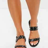 Missguided - Black Studded Two Strap Sandals