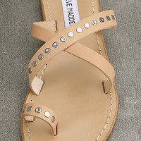 Steve Madden Becky Tan Leather Flat Sandals