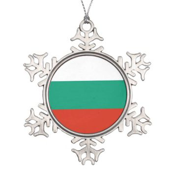 Snowflake Ornament with Bulgaria Flag