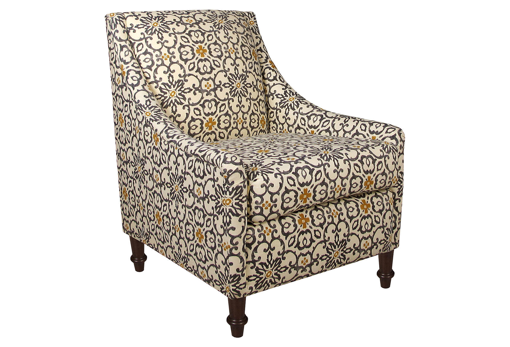 Holmes Accent Chair Gray Yellow Floral from e Kings Lane