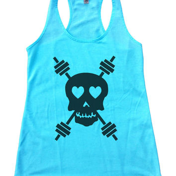 Skull And Weight Bars Womens Workout Tank Top F653