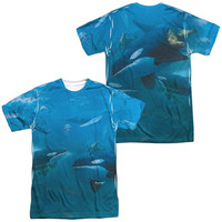 WILD WINGS/WHALES (FRONT/BACK PRINT)-S/S ADULT POLY CREW-SUBLIMATE WHITE