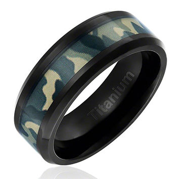 8MM Comfort Fit Titanium Camo Ring Black Plated Wedding Band with Green Military Camouflage Inlay Beveled Edges | FREE ENGRAVING