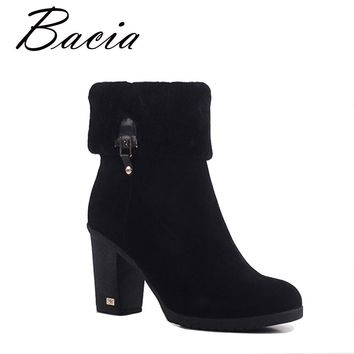 Bacia sheep suede ankle boots fashion square toe thick heel women boots high heel genuine leather Sexy lady boots Sexy Fur SA068