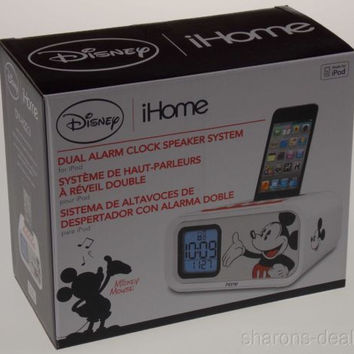 Alarm Clock Mickey Mouse Disney iHome LED Dual Speaker System for iPod 30 Pin