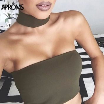 Aproms Halter Backless Tank Tops Women Sexy Elestic Crop Top Casual Off Shoulder Sleeveless Camis Summer Camisole