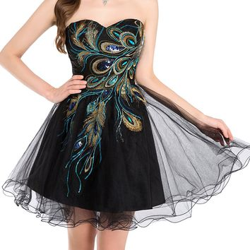 Sexy Short Homecoming Peacock Dress Prom