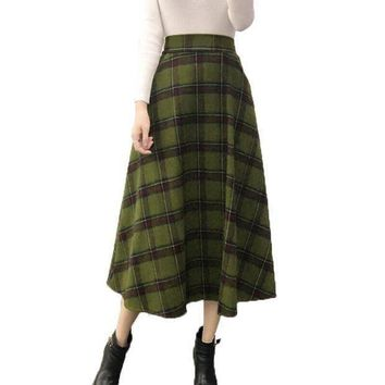 VONE7Y2 Plaid Skirt Women Long A-Line Skirt British Style Woolen Plaid Skirt Winter Vintage Wool Elasticity High Waist OL Pleated Skirts