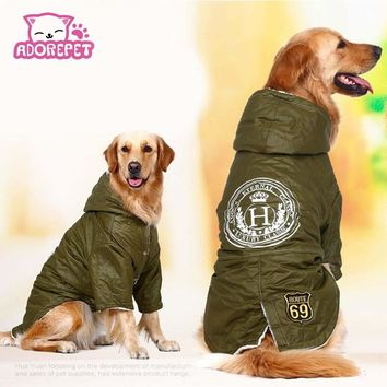Army green Winter Warm big large Dog Pet Clothes hoodie fleece golden retriever dog cotton Padded jacket coat clothing for dog
