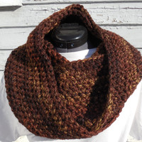 READY TO SHIP, Crochet Loop Scarf, Sequoia Chunky Scarf, Browns Crochet Infinity Scarf, Fall Winter, Women's Accessory, Cowl
