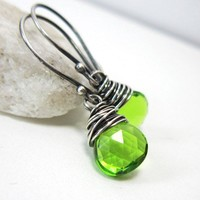 Lime Quartz Earrings, Sterling Silver Peridot Green Handmade Earrings