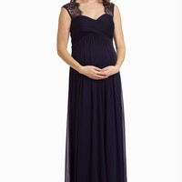 Navy-Lace-Accent-Chiffon-Evening-Gown