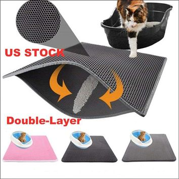 US Double-Layer Cat Litter Box Mat Trapper Foldable Pad Pet Rug EVA Foam Rubber