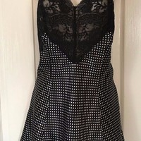 Victoria's Secret Black Polka Dot Black Lace Nighty Size M Gown Sexy Lingerie