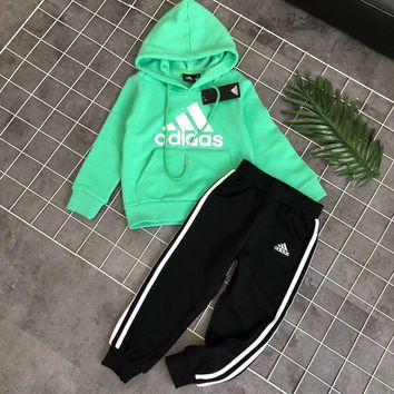 Adidas Girls Boys Children Baby Toddler Kids Child Fashion Casual Top Sweater Pullover Hoodie Pants Trousers Two Piece Set