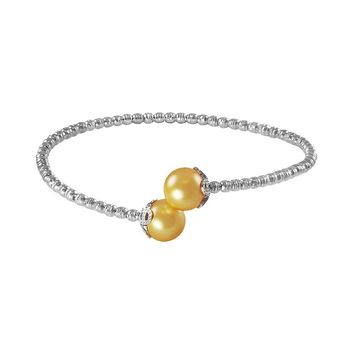 Sterling Silver and Stainless Steel Golden South Sea Cultured Pearl Bead Cuff Bracelet (Yellow)