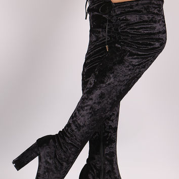 Liliana Velvet Chunky Heel Over The Knee Boots