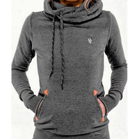 Women Warm Hoodies 2016 Autumn Tracksuits Women Fashion Solid Long Sleeve Pocket Sweatshirt Hoodies Pullovers Slim X0305
