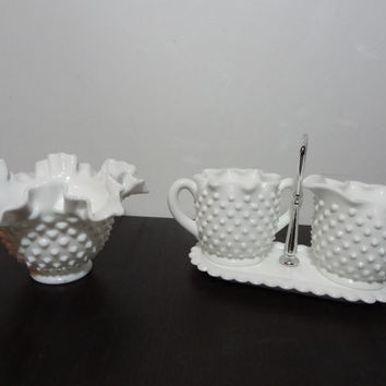 Vintage Hobnail Milk Glass Set - Creamer Pitcher and Sugar Bowl with Matching Tray/Holder, and Bowl - Farmhouse/Shabby Chic Style
