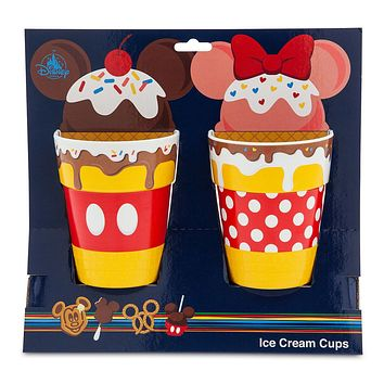 Disney Parks Food Icons Mickey and Minnie Ice Cream Cups Set New with Box