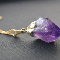 Gold Plated Amethyst Crystal Point Necklace by marcieroxx on Etsy