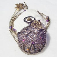 Butterfly watch pendant, pocket watch with bronze filigree butterfly and bronze accents
