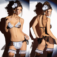Cute Hot Deal On Sale Sexy Uniform Transparent Lace Set Exotic Lingerie [6595803267]