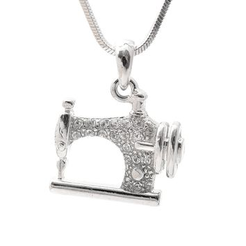 Silver Plated Crystal Sewing Machine Necklace
